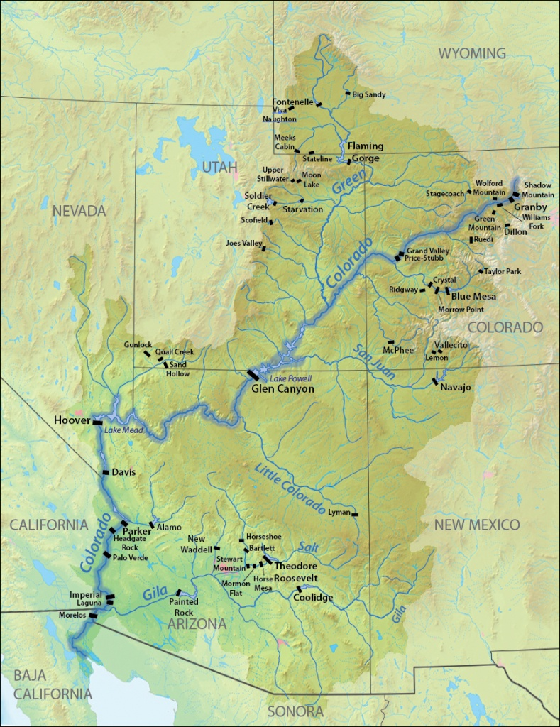 List Of Dams In The Colorado River System - Wikipedia - Colorado River Map Texas