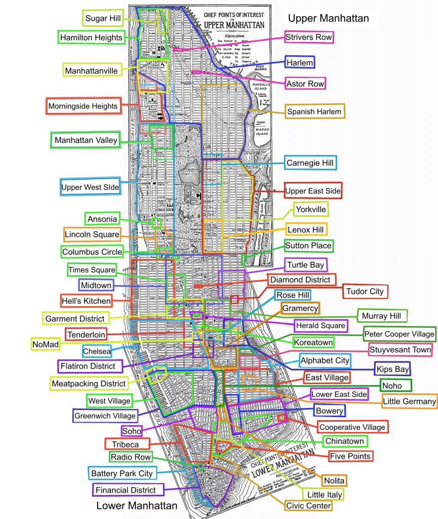 List Of Manhattan Neighborhoods - Wikipedia - Printable Map Of Times Square