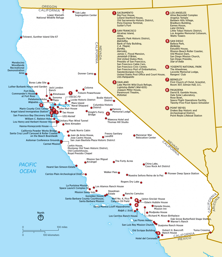 List Of National Historic Landmarks In California - Wikipedia - California Missions Map For Kids