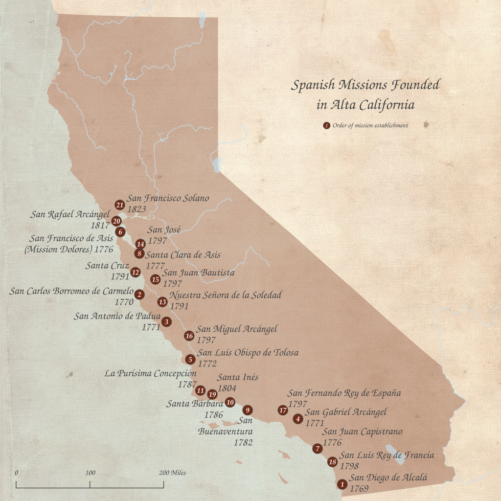 List Of Spanish Missions In California - Wikipedia - California Missions Map Printable