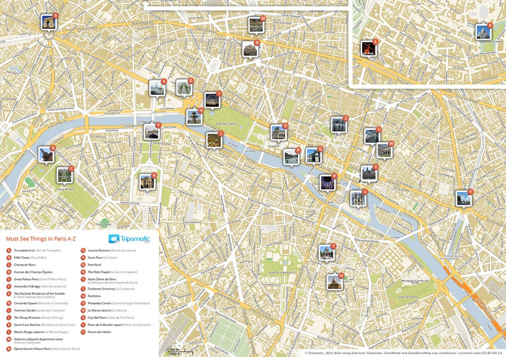List Of Tourist Attractions In Paris - Wikipedia - Printable Map Of Paris City Centre