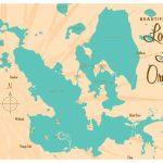 Lochloosa & Orange Lakes Florida Map Vintage Style Art Print   Orange Lake Florida Map