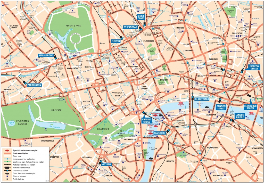London City Center Map - Printable Street Map Of London