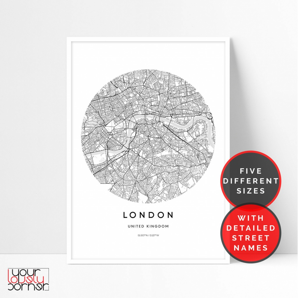 London Map Print, London City Map Printable Wall Art, Circle Map Of London  Wall Art, London Street Map Print, London Poster Digital Download - Circle Map Printable