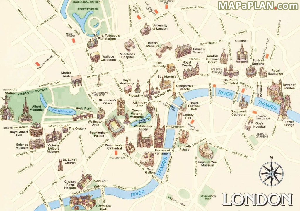 London Maps - Must-See Historical Places Free, Printable Map - Printable Map Of London England