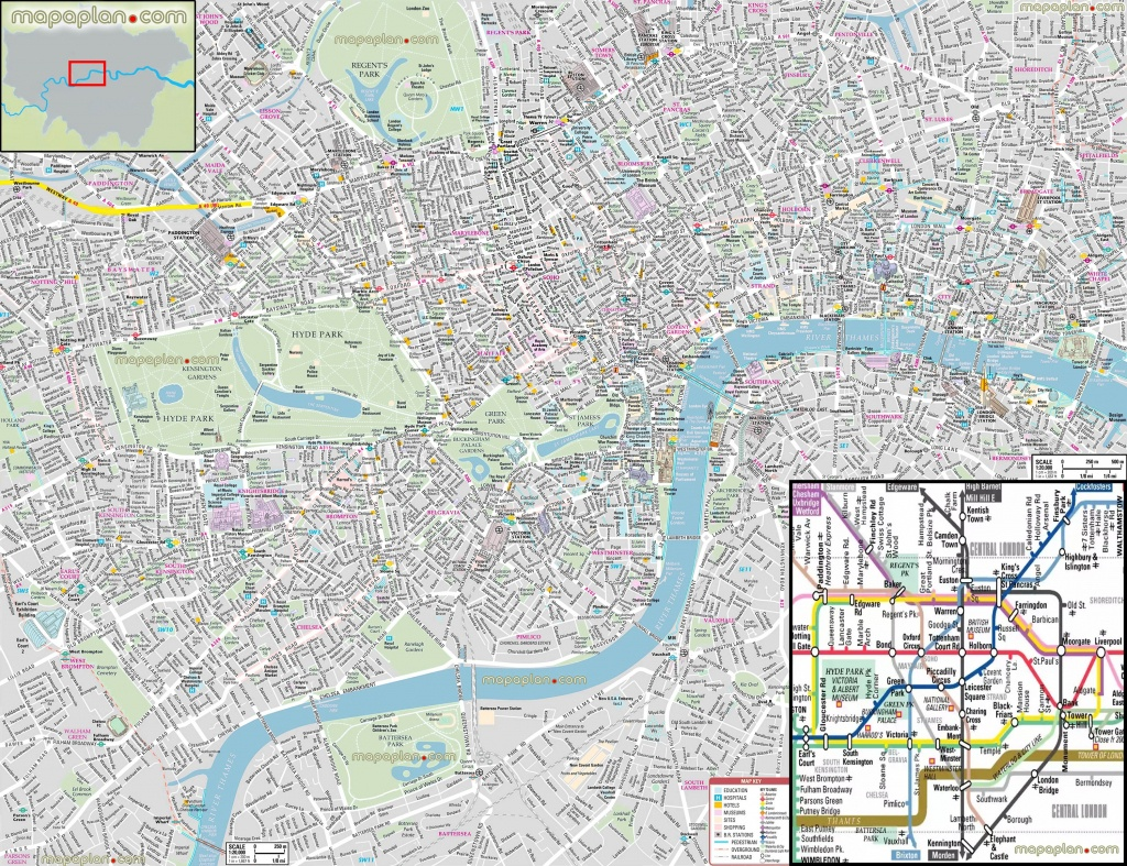 London Maps - Top Tourist Attractions - Free, Printable City Street - Free Printable Tourist Map London