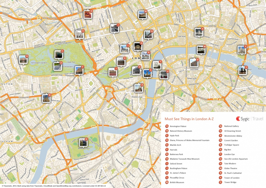London Printable Tourist Map | Sygic Travel - Printable Street Map Of London