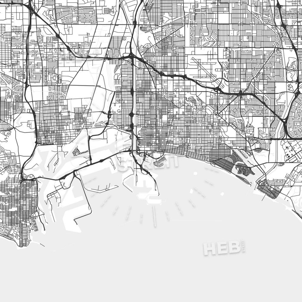 Long Beach, California - Area Map - Light | Hebstreits Sketches - Map Of Long Beach California And Surrounding Areas