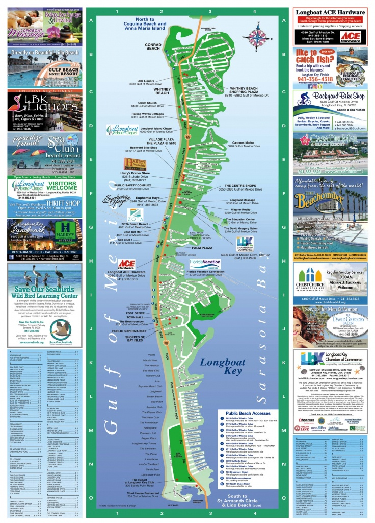Longboat Key Map | Longboat Key Chamber Of Commerce - Lido Beach Florida Map