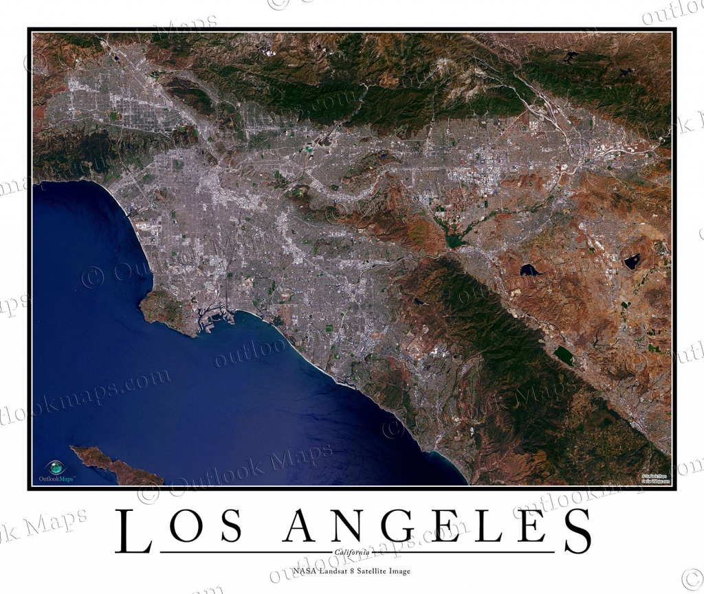 Los Angeles, Ca Area Satellite Map Print   Aerial Image Poster - California Map Satellite