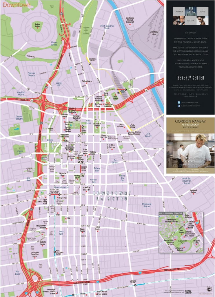 Los Angeles Downtown Tourist Map - Map Of Los Angeles California Attractions