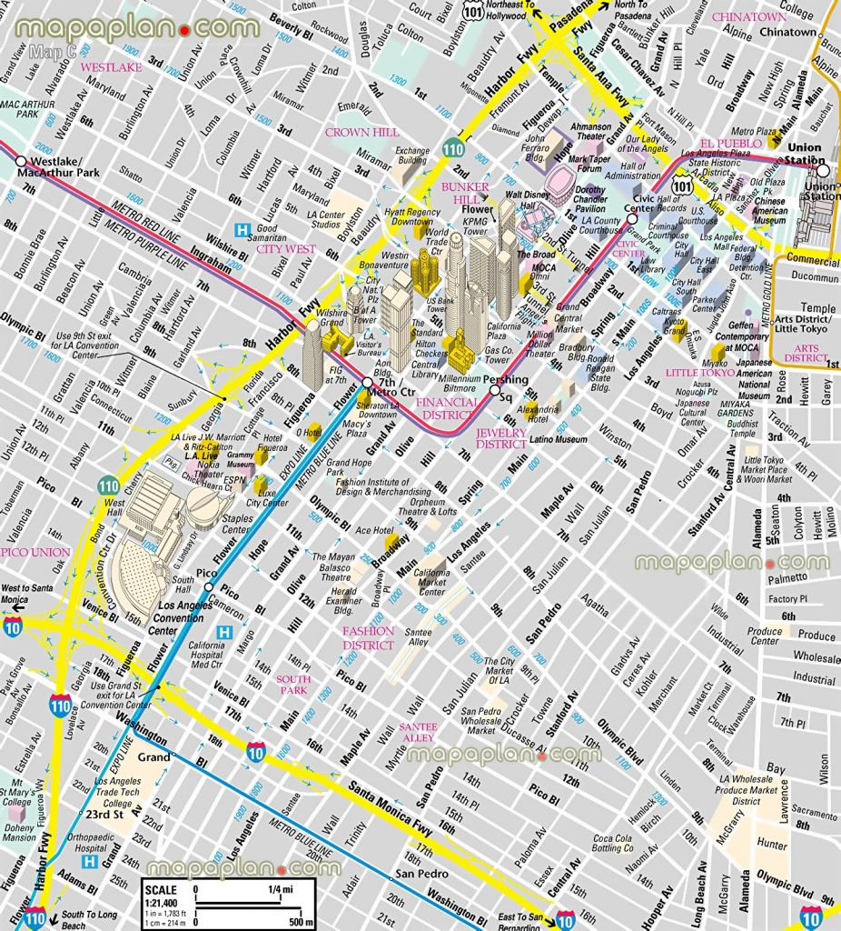 Los Angeles Map - Downtown Financial District - 3D Bird's Eye Aerial - Printable Satellite Maps