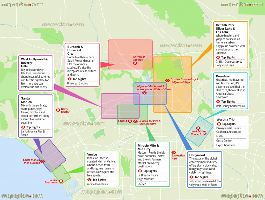 Los Angeles Maps - Top Tourist Attractions - Free, Printable City - Map Of Los Angeles California Attractions