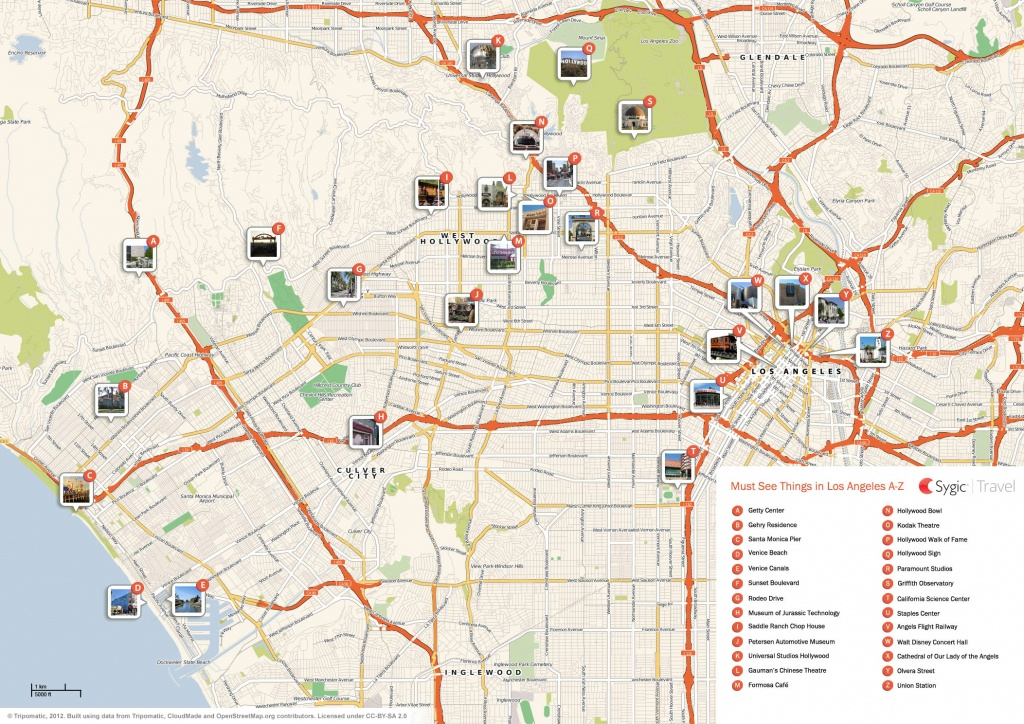 Los Angeles Printable Tourist Map | Sygic Travel - Los Angeles Freeway Map Printable