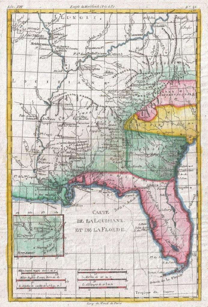 Louisiana, Florida And Carolina Map Poster, Canvas, Print - Florida Map Poster