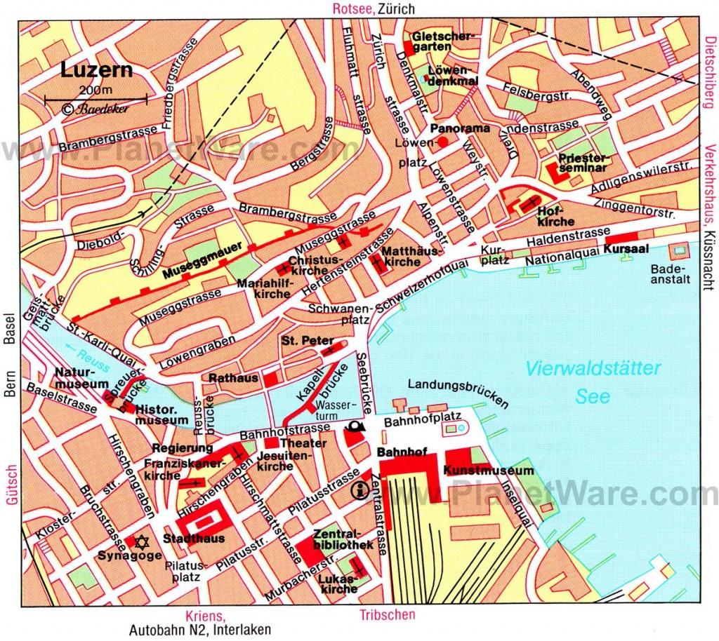 Luzern Map - Tourist Attractions   Travel   Tourist Map, Lucerne - Printable Tourist Map Of Lucerne