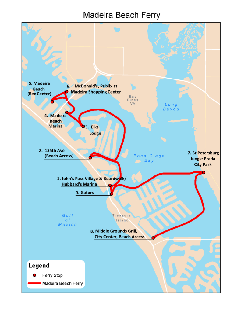 Madeira Beach Route » Tampa Bay Ferry & Water Taxi | Treasure Island - Johns Pass Florida Map