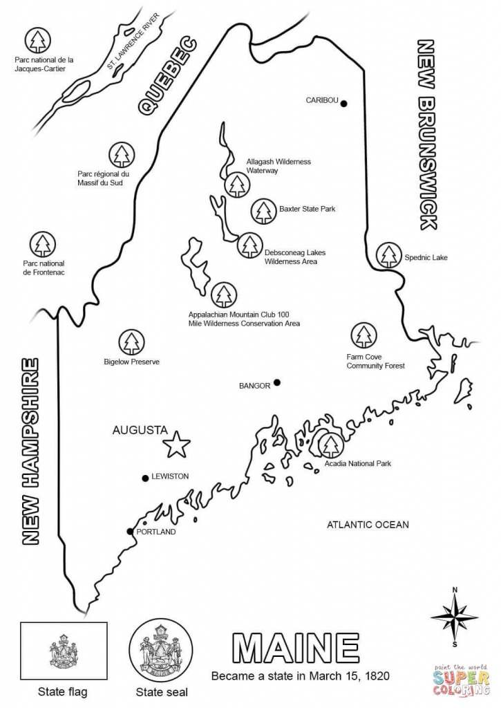 Maine Map Coloring Page | Free Printable Coloring Pages - Maine State Map Printable