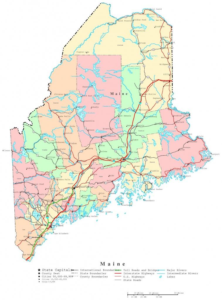 Maine Printable Map - Maine State Map Printable