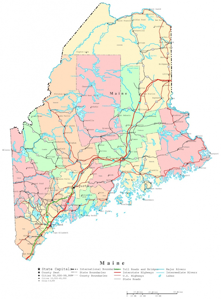 Maine Printable Map - Printable Map Of Maine