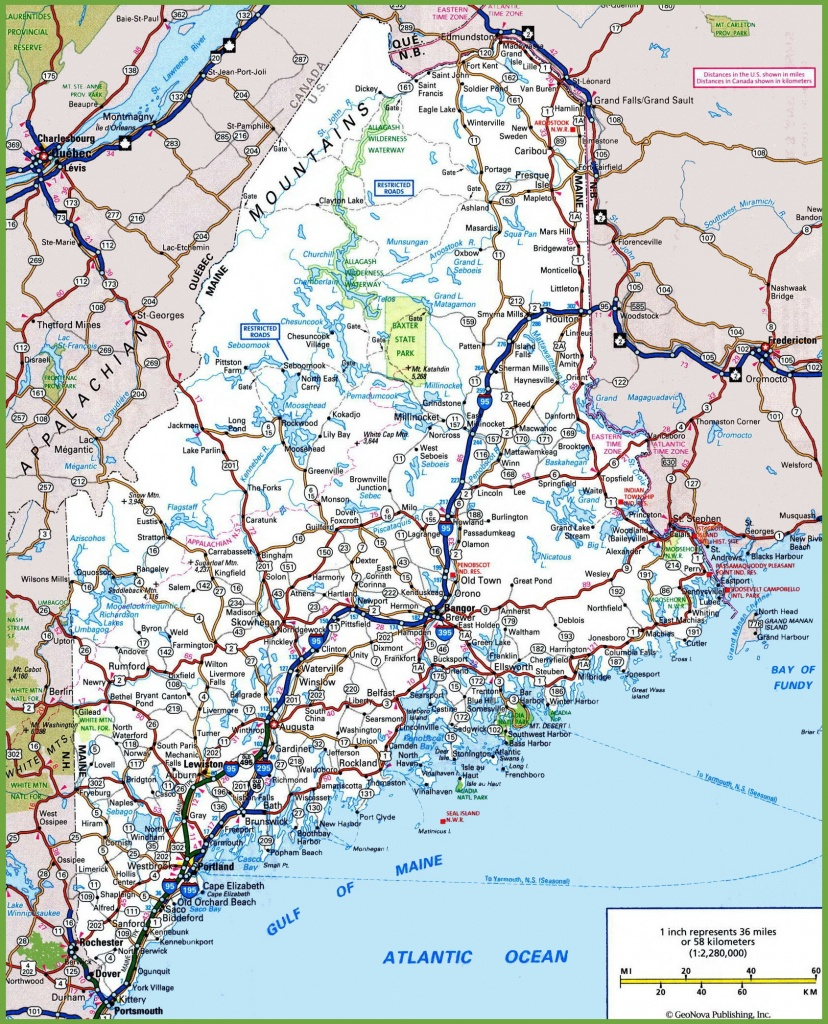 Maine Road Map - Printable Road Map Of Maine