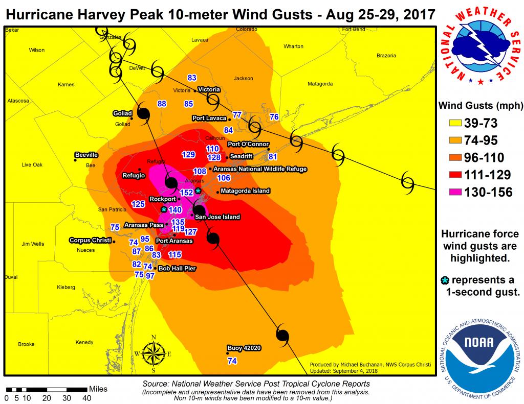Major Hurricane Harvey - August 25-29, 2017 - Texas Wind Direction Map