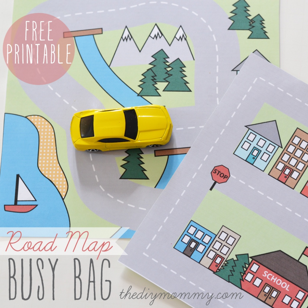 Make A Mini Road Map Busy Bag - Free Printable | The Diy Mommy - Printable Travel Maps