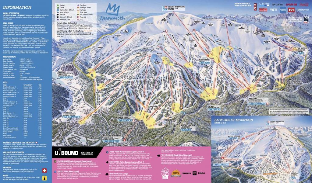 Mammoth Mountain Ski Area Trail Map   Onthesnow - Southern California Ski Resorts Map