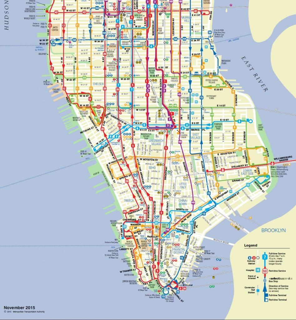 Manhattan On A Map And Travel Information | Download Free Manhattan - Printable Manhattan Bus Map
