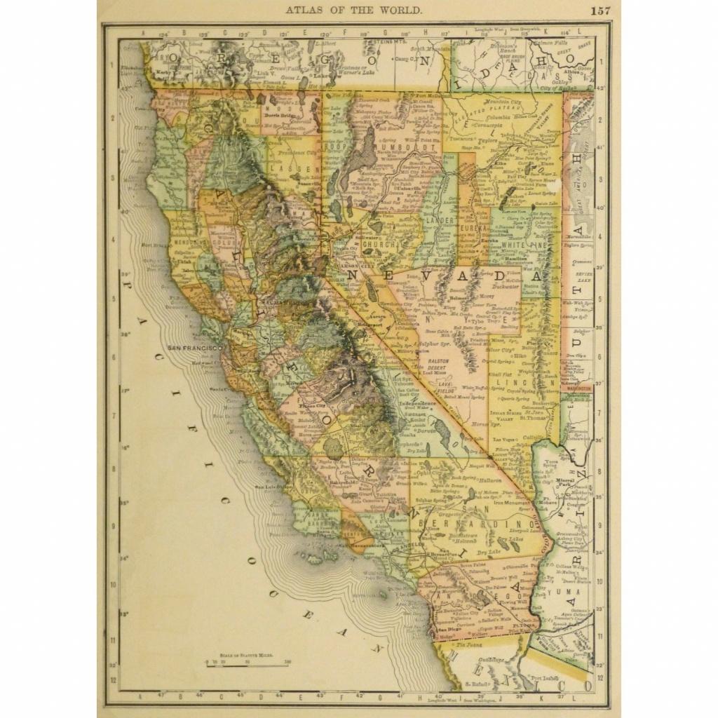 Map - California And Nevada, 1887 - Original Art, Antique Maps & Prints - Antique Map Of California