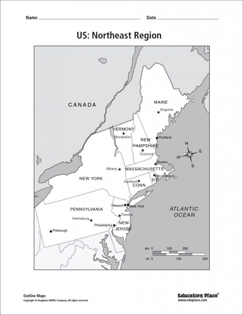 Map Eastern Printable North East States Usa Refrence Coast The New - Printable Map Of The Northeast