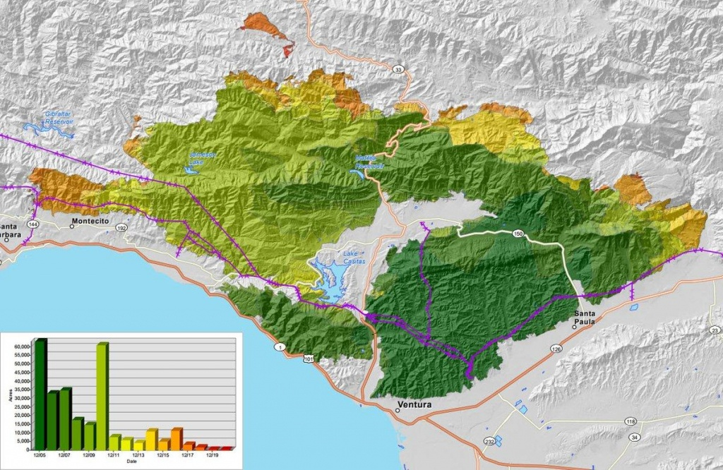 Map: How The Thomas Fire Grew Into One Of California's Largest - Map Of Thomas Fire In California