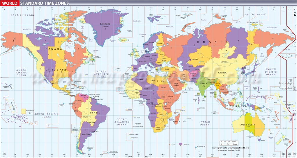 Map In Large Print Of The World Inpinks   Free Printable World Time - World Time Zone Map Printable Free