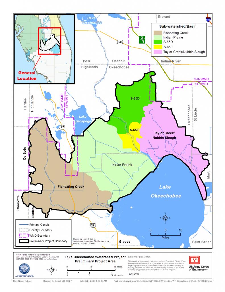 Map: Lake Okeechobee Watershed Restoration Project   South Florida - Florida Watershed Map