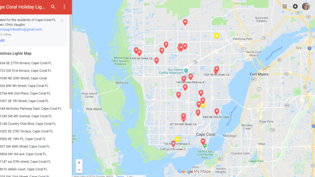 Map Lists Holiday Light Displays Throughout Cape Coral - Street Map Of Cape Coral Florida