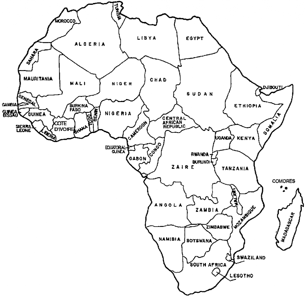Map Of Africa Printable Black And White | Amsterdamcg - Map Of Africa Printable Black And White