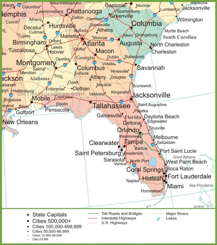 Map Of Alabama, Georgia And Florida - Alabama Florida Coast Map