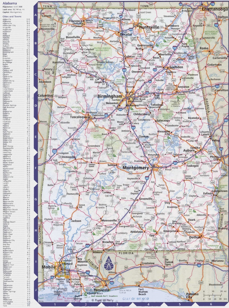 Map Of Alabama With Cities And Towns - Printable Map Of Alabama