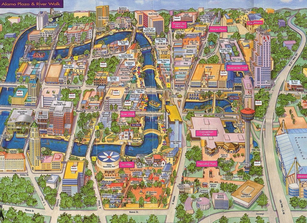 Map Of Alamo Plaza & River Walk | San Antonio, Tx | Www.mappery - Map Of The Alamo San Antonio Texas
