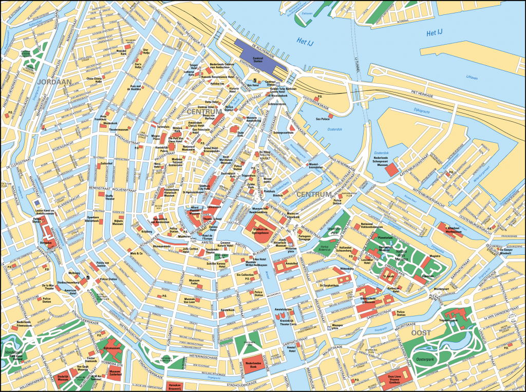 Map Of Amsterdam Tourist Attractions, Sightseeing & Tourist Tour - Amsterdam Street Map Printable