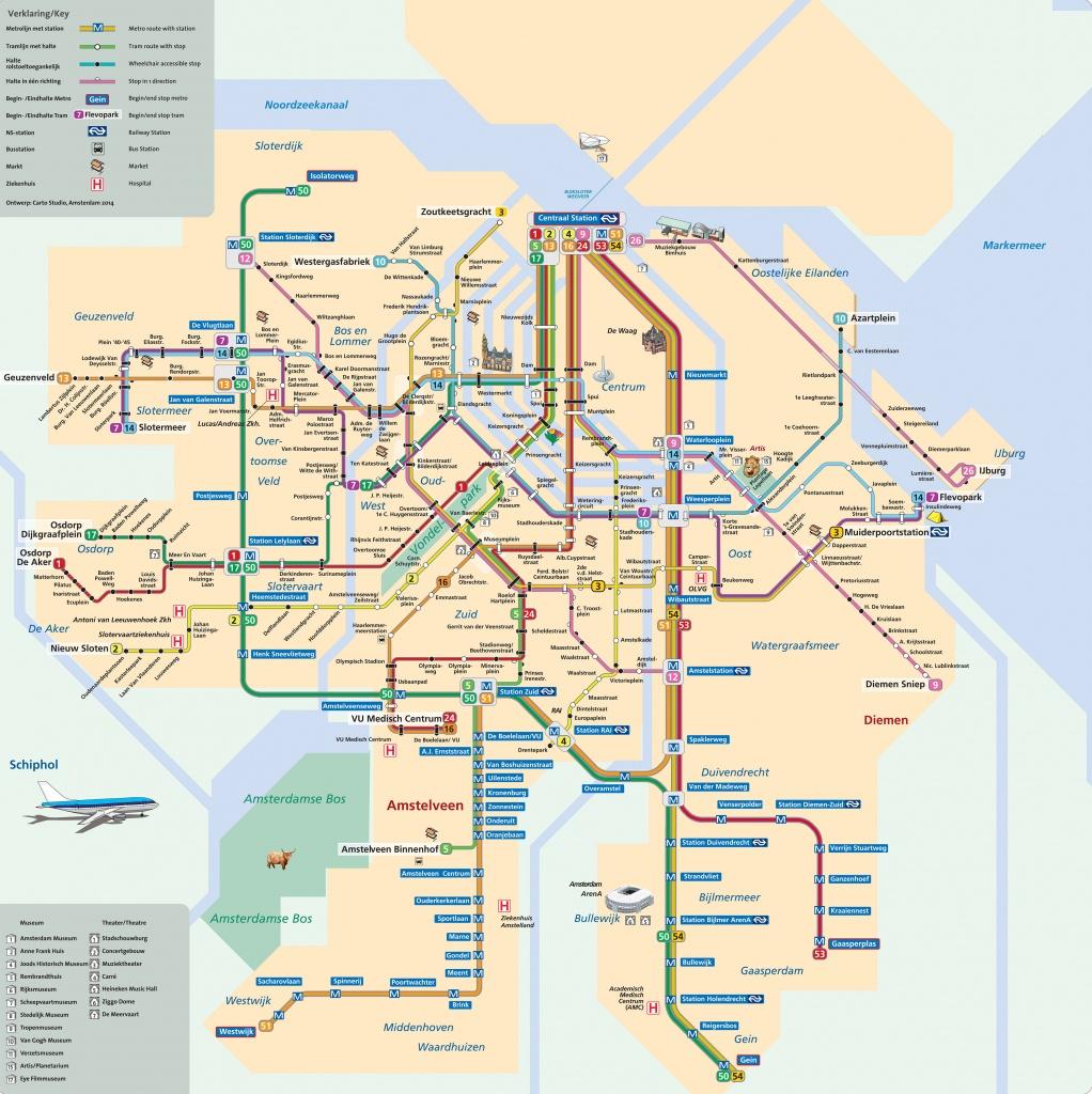 Map Of Amsterdam Tram: Stations & Lines - Amsterdam Tram Map Printable