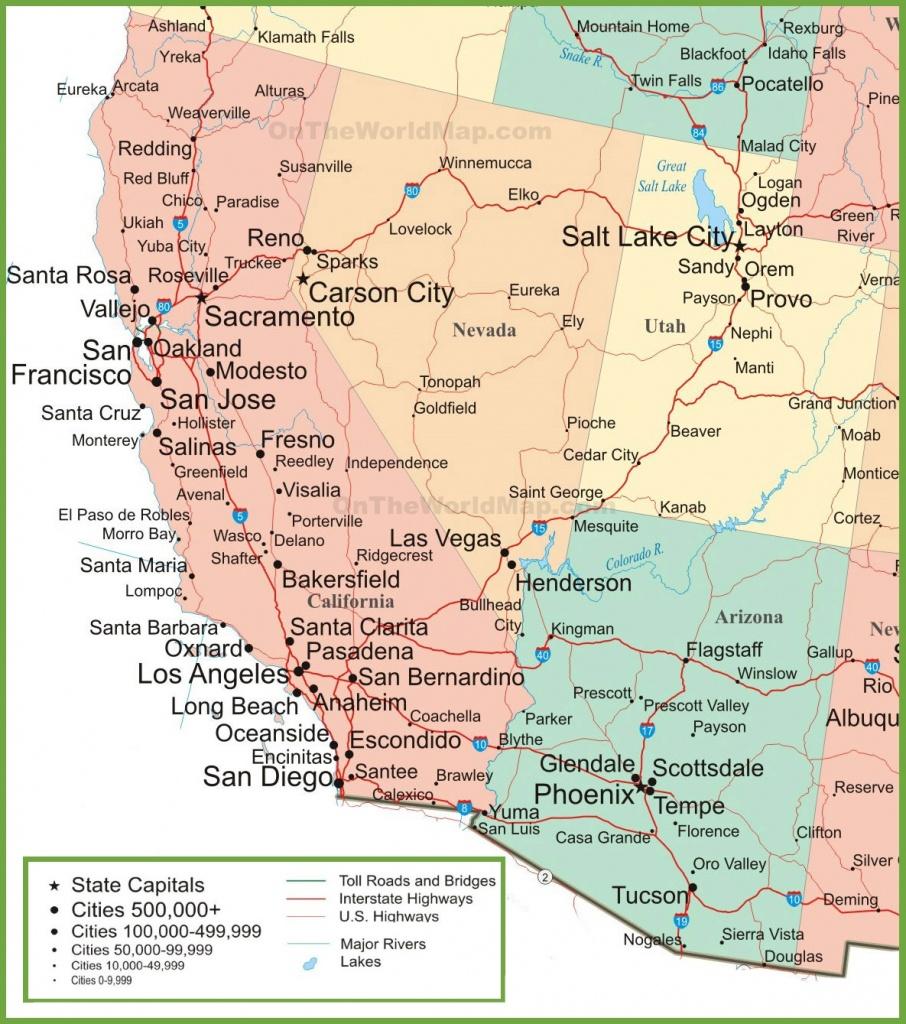 Map Of Arizona, California, Nevada And Utah - Road Map Of California And Nevada