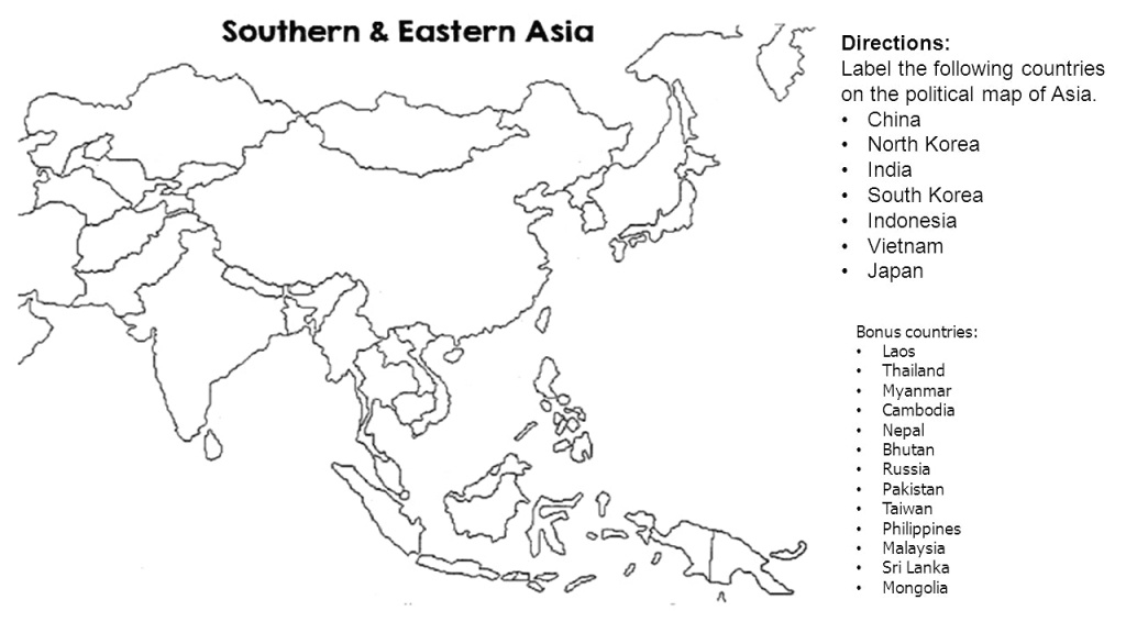 Map Of Asia Blank And Travel Information | Download Free Map Of Asia - Asia Outline Map Printable