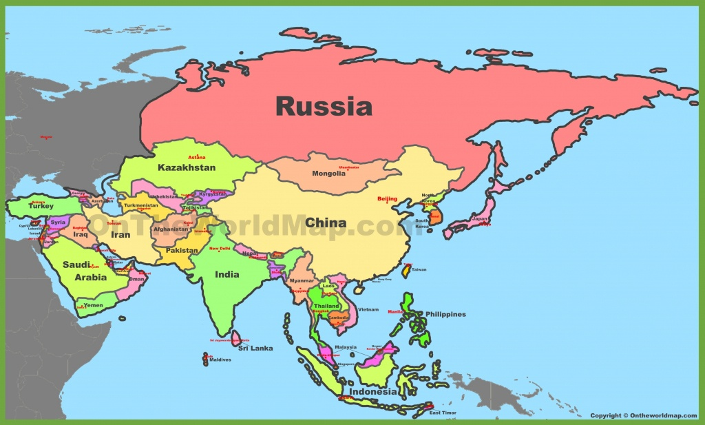 Map Of Asia With Countries And Capitals - Printable Map Of Asia With Countries