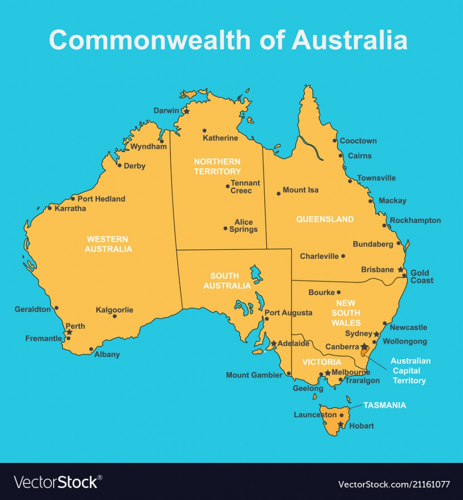 Map Of Australia With Major Towns And Cities Vector Image - Printable Map Of Australia With Cities And Towns Pdf