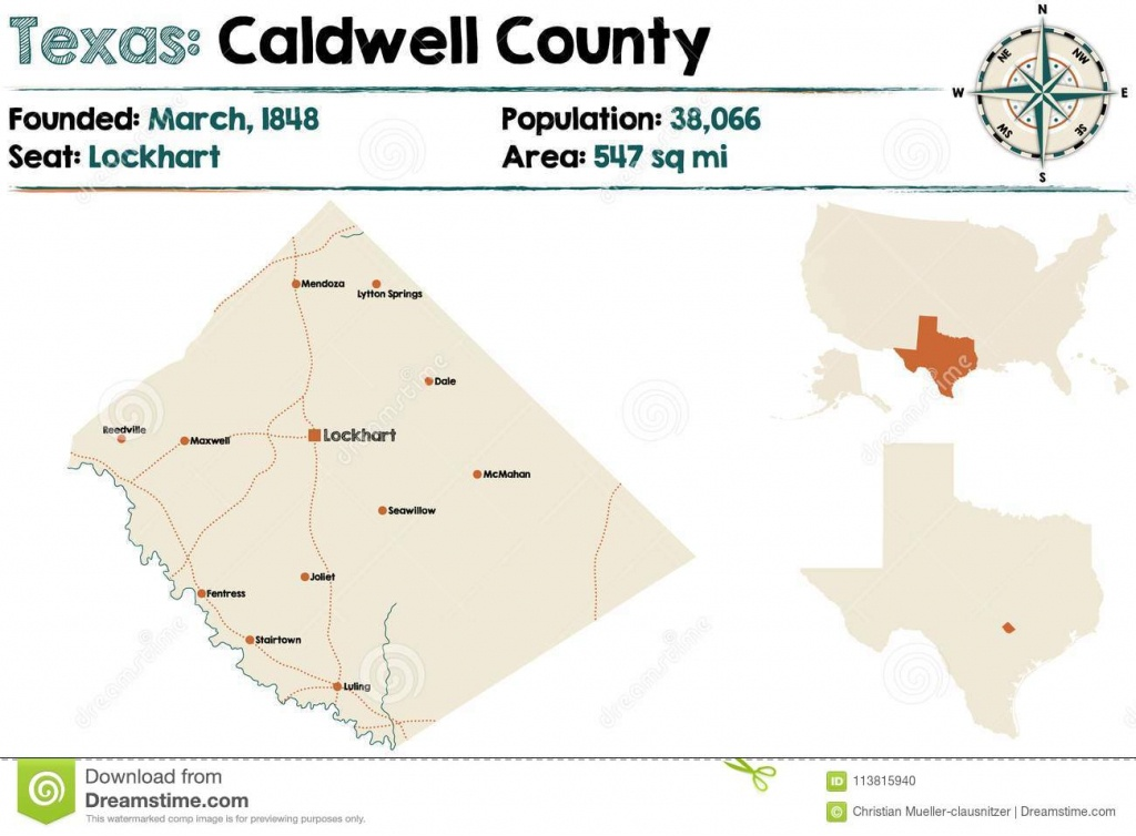 Map Of Caldwell County In Texas Stock Vector - Illustration Of - Caldwell Texas Map