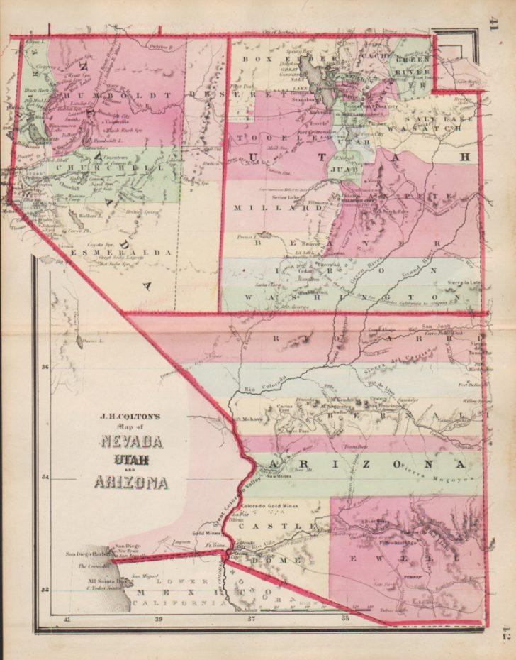 Road Map Of California Nevada And Arizona