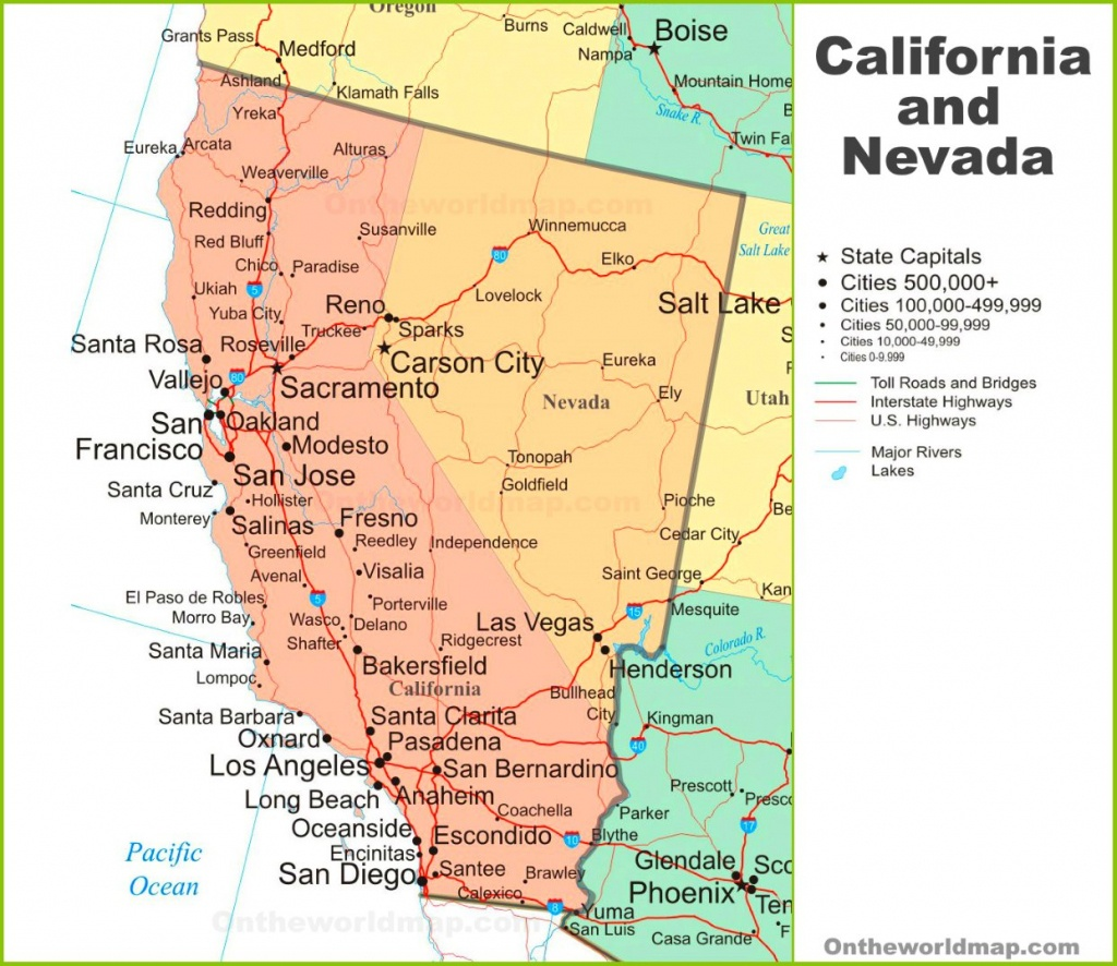 Map Of California And Nevada - Map Of California And Nevada
