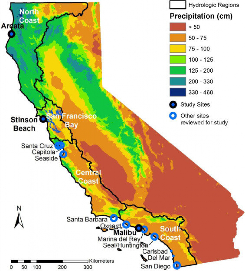 Map Of California Showing The 4 Coastal Hydrologic Regions (Hrs - Https Www Map Of California