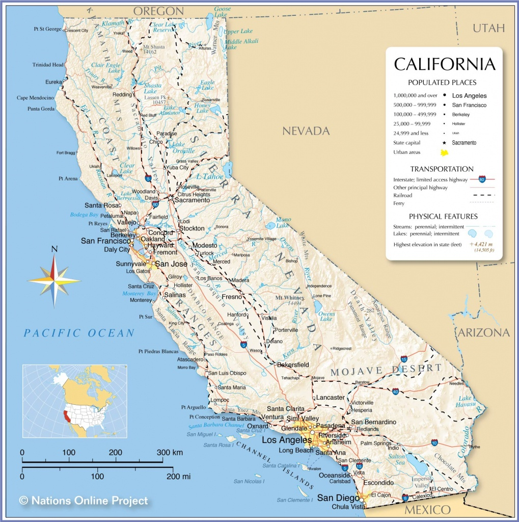 Map Of California State, Usa - Nations Online Project - Where Is Hollister California At On A Map